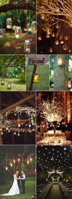 hanging candle lights (wedding) ideas that are also great Patio lighting ideas