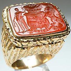 Antique Carnelian & Gold 'Algiers' Intaglio Seal Ring