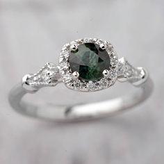 Engagement Ring Natural Green Bluish round Montana Sapphire