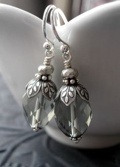 Grey Sky Faceted Glass Earrings with Antiqued Silver by ShySiren