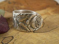 Versilberte Ringe - Ring aus Silberbesteck / Fingerring Rose - ein Designerstück…