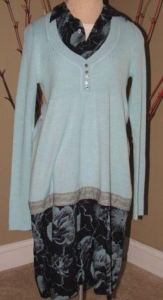 Altered upcycled sweater dress   light aqua sweater by UpCDooZ, $42.00