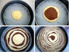 How to make a zebra print cake.