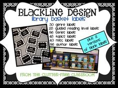 Over 250 BOOK BASKET LABELS to ORGANIZE YOUR LIBRARY {Blackline design} This product includes over 250 labels to help organize your classroom library. There are labels for genre, authors, series, guided reading levels, topics and more.