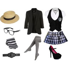 """st trinians"" by sherlockallday on Polyvore how to dress St Trinians...."