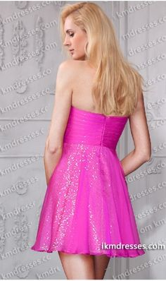 trapless empire waist short Ruched chiffon overlaying sequin dress Purple Dresses Pink Dress http://www.ikmdresses.com/Strapless-empire-waist-short-Ruched-chiffon-overlaying-sequin-dress-p59788