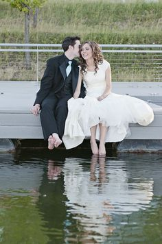 Dipping their toes in the water ... so cute!  What a great moment ... Love this idea.