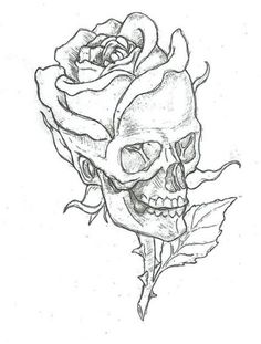 skull in combination with big rose, pictures to paint yourself, tattoo motive ideas, template The post ▷ 1001 + Ideas and inspirations for beautiful pictures for painting! Easy Doodles Drawings, Art Drawings Sketches, Tattoo Sketches, Tattoo Drawings, Tattoos, Flower Drawings, Floral Drawing, Pencil Drawings, Calavera Simple