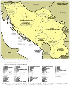 The concentration camps in the Independent State of Croatia are marked 1 through 40 on this map of concentration camps in Yugoslavia in World War II. The two camps in annexed territories are marked 54 and 55.