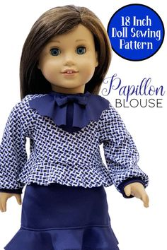 Adorable sewing project for 18 inch dolls like American Girl, Our Generation, My Life As and similar sized dolls. This chic doll pattern is a perfect blouse for the career minded doll! PDF doll clothes pattern is available for instant download so you can print and sew without delay. Doll Sewing Patterns, Doll Clothes Patterns, Clothing Patterns, Girl Doll Clothes, 18 Inch Doll, Blouse Patterns, American Girl, Dolls, Career