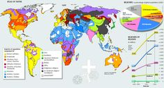 Religion by the numbers. For those who want to be educated and want to know what they're talking about when discussing atheism and religion, thought this might help. Religions Du Monde, World Religions, World Cultures, A History Of God, Ap World History, History Facts, Ancient History, Human Geography, World Geography