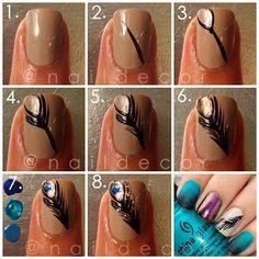 Uñas diseño con plumas - Nail art tutorial