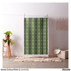 Green Cotton Print Fabric