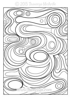 Groovy Abstract Coloring Book Blank Sample Page | Printables ...