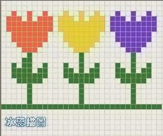Tulips in a row Small Cross Stitch, Cross Stitch Heart, Cross Stitch Borders, Cross Stitch Flowers, Cross Stitch Designs, Cross Stitching, Cross Stitch Embroidery, Cross Stitch Patterns, Chicken Scratch Patterns