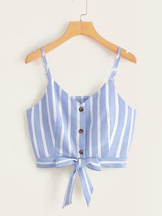 To find out about the Striped Button Front Knot Hem Cami Top at SHEIN, part of our latest Tank Tops & Camis ready to shop online today! Girls Fashion Clothes, Teen Fashion Outfits, Outfits For Teens, Girl Outfits, Casual Outfits, Cute Summer Outfits, Pretty Outfits, Cute Outfits, Cute Crop Tops