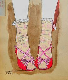 "Loui Jover; Drawing, ""peep toes"""