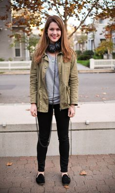 Alexandra Johnson, Software Engineer, Polyvore is wearing a Nordstrom BP jacket, a Scotch and Soda top, Paige Denim jeans, Franco Sarto shoes, Sennheiser headphones, and vintage and gifted jewelry.