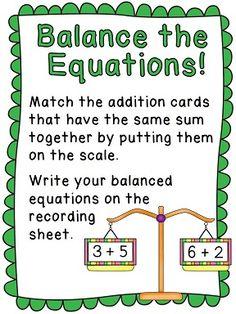 Balancing equations math center - super fun!