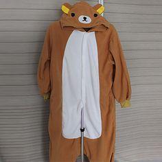Vrolijke Rilakkuma Brown Polar Fleece Kigurumi pyjama nachtkleding Cartoon Animal Halloween Costume 2016 – €39.19