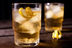 "Basic Highball - Was invented in 1895, but became common in the speakeasies in the 20's.  1 ounce whiskey  5 ounces cold ginger ale  Twist of lemon peel  Pour the whiskey into a chilled highball glass over ice. Add ginger ale to fill; then garnish with lemon peel. ""Build"" the drink in the glass by slowly adding ingredients one at a time. Avoid overstirring freshly opened carbonated beverages."