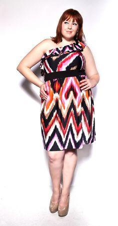 ZigZag Ruffle One Shoulder Dress