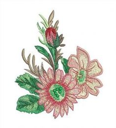 Free flowers embroidery design. Machine embroidery design. www.embroideres.com