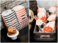 halloween chevron treat bags
