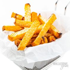 Rutabaga fries make the best keto French fries! You'll love the crispy exterior. These low carb fries have just 6 g net carbs! Toasted Almond Cake Recipe, Low Carb Keto, Low Carb Recipes, French Onion Soup Ingredients, Parmesan Zucchini Fries, Rutabaga, French Fries Recipe, French Recipes, Onion Soup Recipes