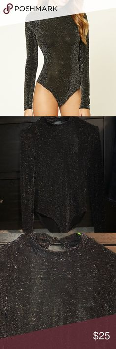 Forever 21 sparkle Bodysuit Forever 21 Bodysuit  💋size Small  💋black with silver sparkle  💋long Sleeve mock neck  💋new with tags Forever 21 Tops Blouses