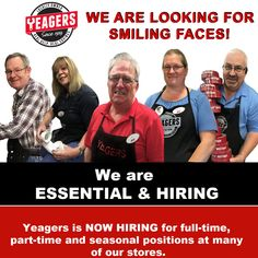 Ready to join the team? Yeagers is seeking friendly and helpful team members!
