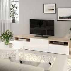 BESTÅ TV bench - walnut effect light gray, Selsviken high-gloss/white - IKEA Ikea Tv Bank, Besta Tv Bank, Sala Ikea, Tv Banco, Ikea Tv Unit, Plastic Foil, Ikea Family, Tv Unit Design