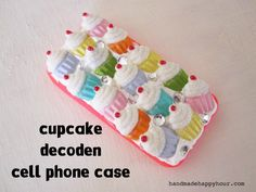 Cupcake cell phone case with Mod Melts and Collage Clay.
