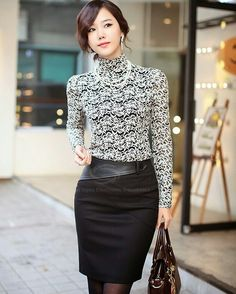Pretty pencil skirt and graceful clothes