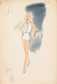 """Helen Rose sketches for High Society, featuring Grace Kelly as """"Tracy Samantha Lord"""""""