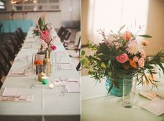 colorful wedding reception table details