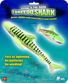 Glow In The Dark Torpedo Shark by Mindwalk. $9.99. No winding.. No batteries.. Patented.. From the Manufacturer                Torpedo Shark dive ,glides, and rises like a real shark. Glow In The Dark for day an dnight paly.                                    Product Description                With a flick of the wrist Glow In The Dark Torpedo Sharks dive, glide, and rise like real thing! They even swim up to twenty feet away! No batteries or winding required. They're safe, ...