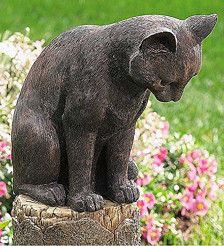 Plow & Hearth Cat and Mouse Outdoor Garden Decor, Weatherproof Resin, Bronze-Colored Finish, 10 in L x 11 in W x 23 in H Outdoor Statues, Garden Statues, Resin Sculpture, Sculpture Garden, Outdoor Garden Decor, Garden Decorations, Outdoor Rooms, Outdoor Furniture, Bronze Art