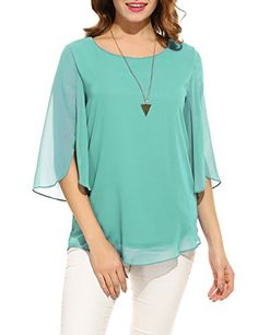 Hount Women Casual Loose Pullover Chiffon Blouse Sleeve Solid Chiffon Shirt (L, Blue) Chiffon Shirt, Chiffon Tops, Womens Fashion Casual Summer, Loose Tops, Casual Tops, Neue Trends, Shirt Blouses, Pullover, Clothes For Women