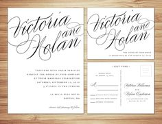 Calligraphy  Wedding Invitation & RSVP. I love the wording on the RSVP postcard, I love that its a postcard.