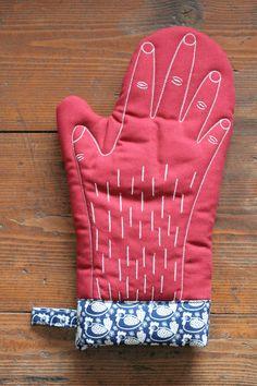 hand oven mitt. diy idea?..Hahaha..this is hilarious.. hairy arms.