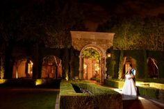 Beautiful nighttime perspective of Villa Siena's Tuscan arches | One Fine Day Photography | villasiena.cc