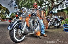 Classic American built Indian motorbike and rider at motorbike show in Melbourne, Australia.