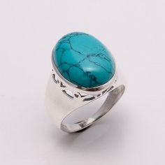 SG01 925 SOLID STERLING SILVER COPPER GREEN TURQUOISE  RING SZ 7 , 14.3 GRM