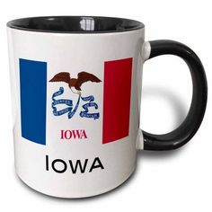 3dRose Iowa State Flag, Two Tone Black Mug, 11oz