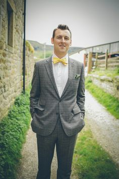 665a571c4ae9 A Quirky DIY Country Wedding. Grey Tweed SuitTweed SuitsDifferent Color DressYellow  Bow TieDapper ...