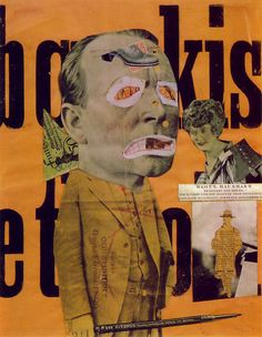Der Kunstreporter (Kunstkritiker), 1919/20   Photomontage and collage with ink stamp and crayon on printed poster poem (31.8 x 25.4 cm.)   [Collection The Trustees of the Tate Gallery, London].   Note: exhibited at the Erste Internationale Dada-Messe, Nr. 37.	  Cat. Hausmann (1994) 181.