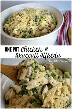 One Pot Chicken & Broccoli Alfredo - Stay Fit Mom One Pot Meals, Easy Meals, Clean Recipes, Healthy Recipes, Delicious Recipes, Macro Friendly Recipes, Chicken Broccoli Alfredo, Photo Food, Broccoli Recipes