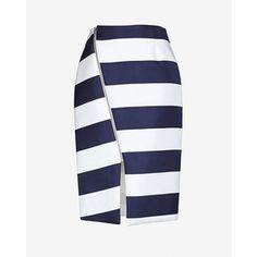 Nicholas Angled Zipper Detail Striped Skirt