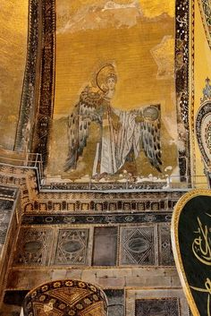 "Istanbul - Hagia Sophia's Archangel Gabriel. The vast majority of Christian Iconography was painted over or destroyed when the Ottomans conquered Constantinople and converted the great church of ""Holy Wisdom"" to a mosque. The is one of the few original patches to have survived."